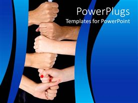 PowerPlugs: PowerPoint template with lots of adult human hands in a fist together portraying team work