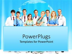 PowerPlugs: PowerPoint template with lots of adult males and females smiling with stethoscope