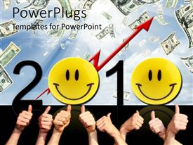 PowerPlugs: PowerPoint template with lots of adults hands and smiley faces with a 2010 text