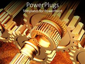 PowerPlugs: PowerPoint template with lots of animated gold colored gears working simultaneously together