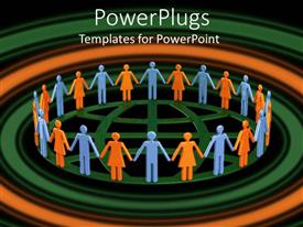 PowerPoint template displaying lots of animated people holding hands standing in a circle