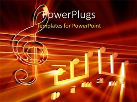 PowerPlugs: PowerPoint template with lots of arranged musical note on a red background