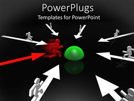 PowerPlugs: PowerPoint template with lots of arrows with 3D human characters on then going to a green object