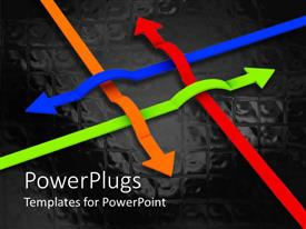 PowerPlugs: PowerPoint template with lots of arrows inter crossing on a black background