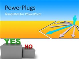 PowerPlugs: PowerPoint template with lots of arrows with text that spell out the words 'Yes, No'