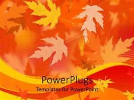 PowerPlugs: PowerPoint template with lots of autumn leaves with a blurry orange background
