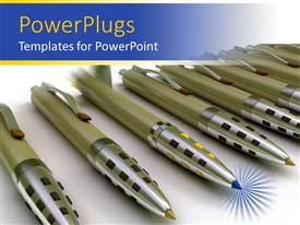 PowerPlugs: PowerPoint template with lots of ball point pens with one different one in the middle
