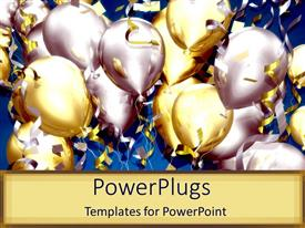 PowerPlugs: PowerPoint template with lots of balloons and confetti for celebration party on tan background