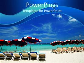 PowerPoint template displaying lots of beach chairs with umbrellas on a blue beach