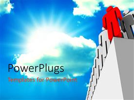 PowerPlugs: PowerPoint template with lots of black characters with a red one all standing at a wall edge
