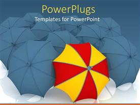 PowerPlugs: PowerPoint template with lots of black umbrellas with a different colorful one in front
