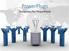 I love this PowerPoint enhanced with lots of blue 3D characters around a light bulb