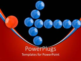 PowerPoint template displaying lots of blue buttons forming an arrow and pointing to a red button