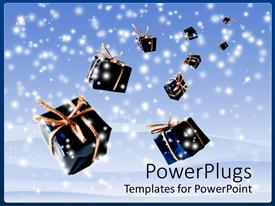 PowerPlugs: PowerPoint template with lots of blue Christmas gifts falling from heaven with snow