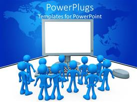 PowerPlugs: PowerPoint template with lots of blue colored 3D characters facing a large computer