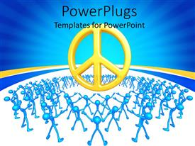 PowerPlugs: PowerPoint template with lots of blue colored 3D human characters stretching at a large symbol