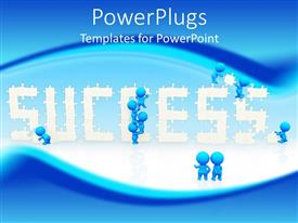 PowerPlugs: PowerPoint template with lots of blue colored characters with a text that spells out the word ' success'