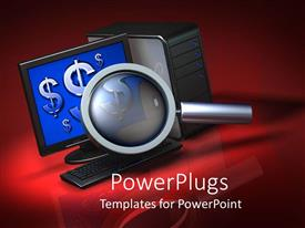 PowerPlugs: PowerPoint template with lots of blue dollar signs in a computer with a magnifying glass