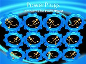 PowerPlugs: PowerPoint template with lots of blue gears with human figures in them