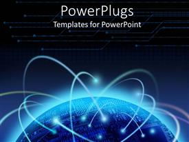 PowerPoint template displaying lots of blue light orbs on an earth globe
