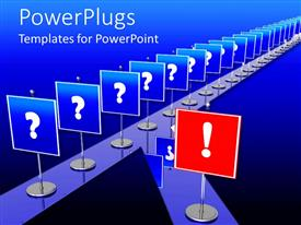 PowerPoint template displaying lots of blue and red stands with a question mark sign