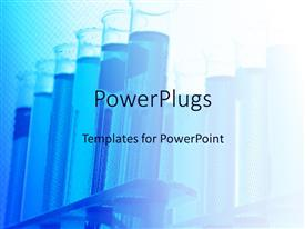 PowerPoint template displaying lots of blue test tubes with liquids in them
