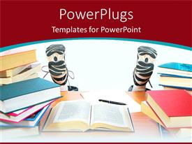 PowerPoint template displaying lots of books on a table with a pair of legs