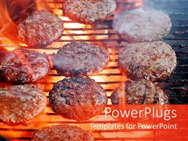 PowerPoint template displaying lots of burgers roasting over a flame on a lit grill