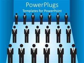 PowerPoint template displaying lots of business human figures standing in rows on a blue background