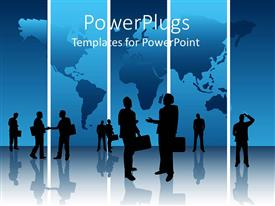 PowerPoint template displaying lots of business looking human depictions on a blue background