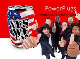 PowerPlugs: PowerPoint template with lots of business men smiling with a text which spells out the words 'yes we can'