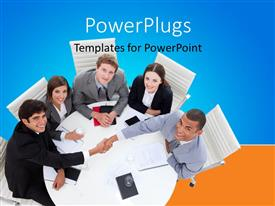 PowerPoint template displaying lots of business men and women having a meeting round a table
