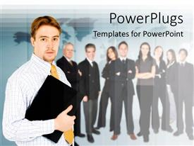 PowerPlugs: PowerPoint template with lots of business men and women standing and one leading