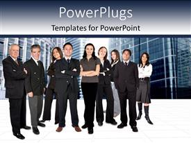 PowerPlugs: PowerPoint template with lots of business men and women standing in different positions