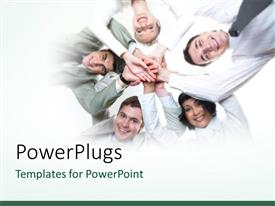 PowerPlugs: PowerPoint template with lots of business people joining their hands together in unison