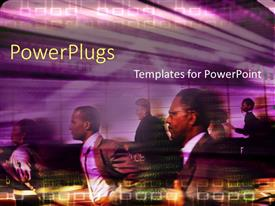PowerPoint template displaying lots of business people running fast with binary codes