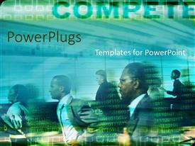 PowerPlugs: PowerPoint template with lots of business people running with lots of binary codes