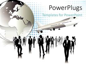 PowerPlugs: PowerPoint template with lots of business people standing beside an earth globe and an airplane