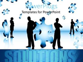 PowerPlugs: PowerPoint template with lots of business people standing with puzzle pieces in the air