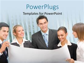 PowerPlugs: PowerPoint template with lots of business people staring at a business plan happily