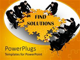 PowerPlugs: PowerPoint template with lots of business people trying to arrange a big yellow jig saw puzzle