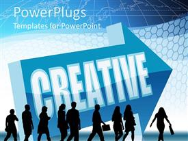 PowerPlugs: PowerPoint template with lots of business people walking with a Creative text