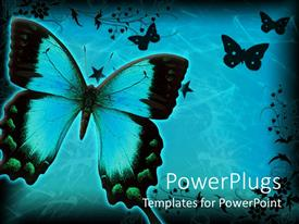 PowerPlugs: PowerPoint template with lots of butterflies with floral designs on a blue background