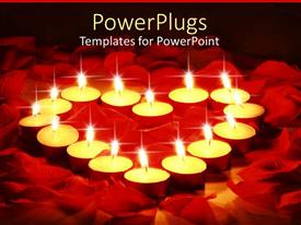 PowerPlugs: PowerPoint template with lots of candles forming a heart shape on rose petals