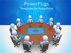 PowerPlugs: PowerPoint template with lots of characters sitting on a round table with puzzle pieces