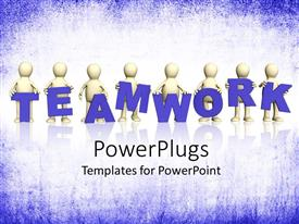 PowerPlugs: PowerPoint template with lots of characters with a text that spells out the word ' Teamwork'