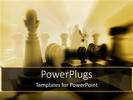 PowerPlugs: PowerPoint template with lots of chess pieces with a bright light shinning