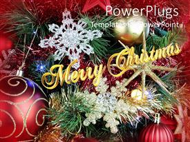 PowerPoint template displaying lots of Christmas decorations and ornaments with a text that spells out