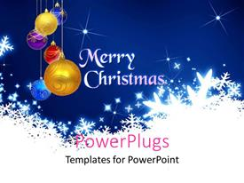 PowerPlugs: PowerPoint template with lots of Christmas ornaments with a text that spells out the word 'Merry Christmas '