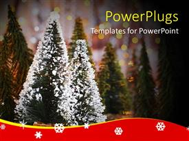 PowerPlugs: PowerPoint template with lots of Christmas trees with snow on two of them